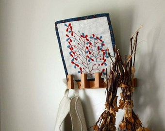 Tree of Life Contemporary folk Embroidery by ProjectSarafan. Naive/ primitive/ folk art style. Contemporary Textile Art. slow stitching