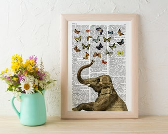 Summer Sale Elephant in love counting butterflies book print wall art, collage Printed on vintage dictionary book page ANI088