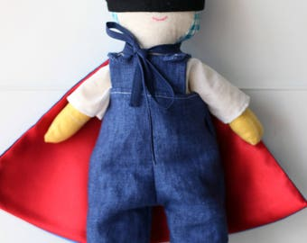 Alain. Boy cloth doll. Stuffed rag doll. One of a kind, ready to ship. Made in Italy.