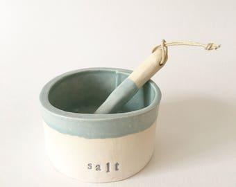SALT SILO large salt cellar dish with spoon