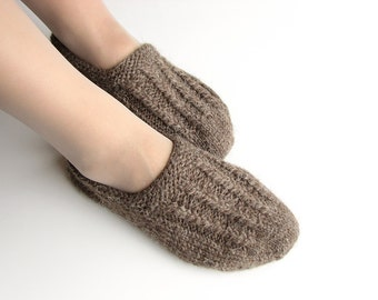 EU Size 40-41 - Hand Knitted Woolen Slippers - Winter Organic Eco Clothing