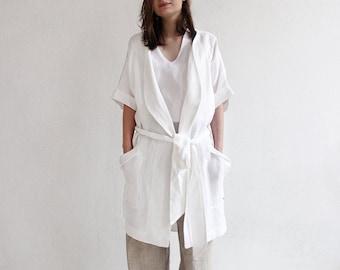 Linen robe women, Custom color bath robe woman, White linen robe, White linen dressing gown White night robe White linen bathrobe, Bath robe