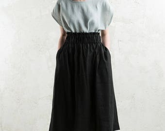 Long linen skirt, Black skirt with elastic, Long black linen skirt, Black linen women's clothing collection by LHI
