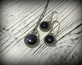 RESERVED for Juliette - Starry Night - Blue Goldstone Sterling Silver Necklace and Earring Set