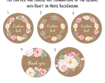 "Custom Round Stickers - Favor Stickers - Handmade Stickers - Custom Stickers - Flower Stickers, 1.5"" or 2""  Set of 24"