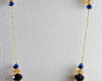 """Black and Champagne Swarovski Crystal 22"""" Necklace with Gold Chain"""