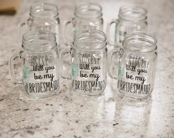 Will you be my Bridesmaid?  Black and Gold Mason Jars, Bridesmaids, Maid of honor. Wedding party gifts. Will you be my Bridesmaid, Gift