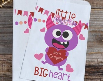 Valentines Day Little Monster Personalized Goodie Cookie Paper Bags for Valentine's Day Boys Party Favors, or Giveaways