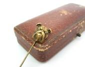 English Bulldog Stick Pin. Rolled & 10K Gold Dog Head Figural, Paste Eyes. Victorian Lapel Cravat Pin. Antique Edwardian 1900s Jewelry