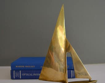 Vintage Brass Sailboat Figurine - Paperweight Coastal Coast Ocean Sea Sail Nautical Home Decor Desk Mantle Shelf Sail Boat