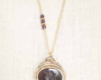 Spinner Intaglio, Carnelian Intaglio pendant, Two Girls Gems