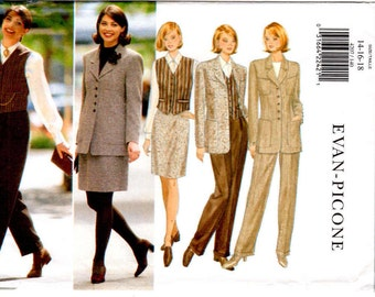 Butterick 4207 Size 14 to 18 Misses/Petite Jacket, Vest, Skirt, Pants Wardrobe Evan-Picone Loose-Fitting Lined Sewing Pattern Supply ff