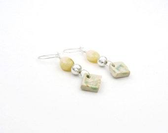 Handmade Opal Earrings. Sterling Silver Ceramic Earrings. Yellow Opal. Aqua