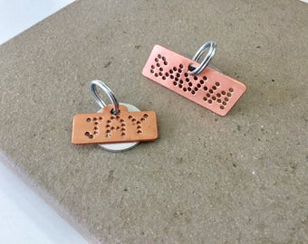 Cute pet ID tag personalized for your dogs pink copper unique design