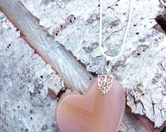 Peach Agate Heart Necklace