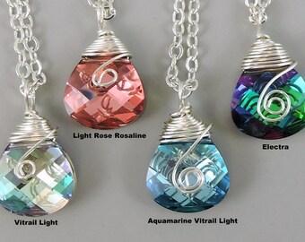 Wire Wrapped Swarovski Elements Necklace, Crystal Necklace, Swarovski Jewelry