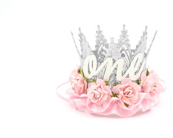 First Birthday lace crown || cursive ONE || silver + pale pink flowers + ribbon || mini Harlow ||photography prop