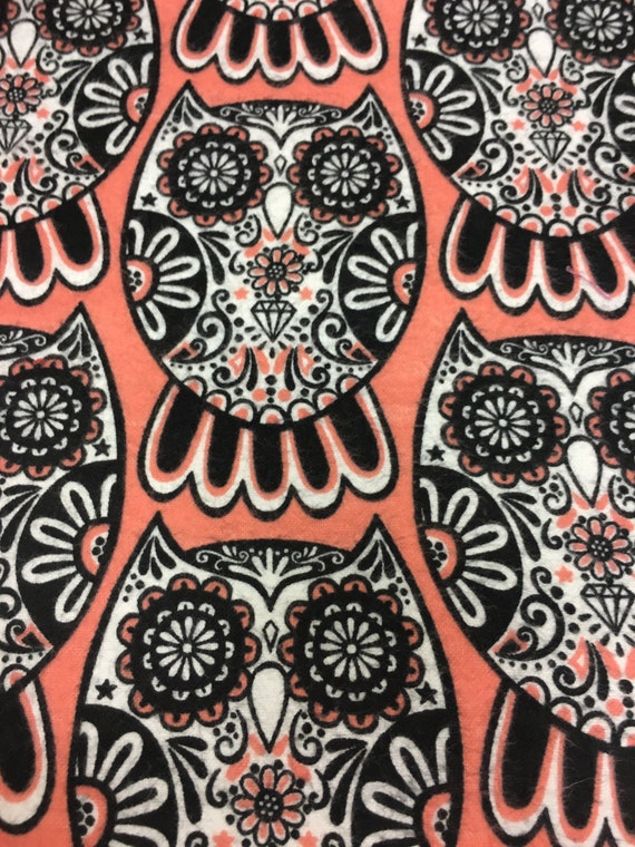MINKY Sugar Skull Owl car seat canopy carseat canopy cover skulls owls coral black baby girl baby boy forest birds & MINKY Sugar Skull Owl car seat canopy carseat canopy cover ...