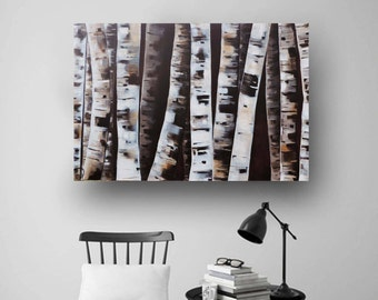 Abstract Painting, Tree Painting, Aspen Tree, Birch Tree, Black White Painting, Original Painting on Canvas, Natural, Rustic Art, 36x24 Day