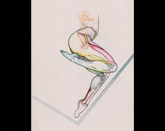 Prime, Original colorful watercolor drawing sketch, Human anatomy figure surrealist vivid art, Nude Woman legs, NYC artist