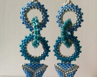 Circles and Triangle in Blue Earrings