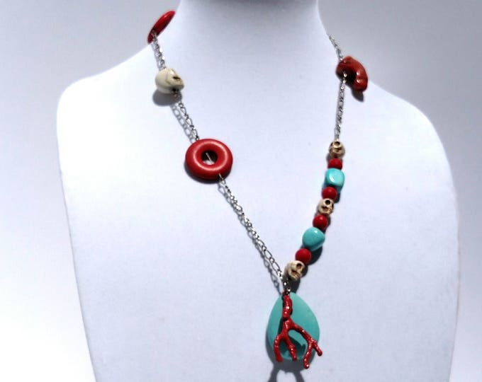 Coral, Turquoise and Skull Necklace