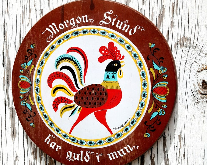 Vintage 1965 Swedish Folk Cutting Board Wall Hanging with Rooster - by Berggren Trayner Corp
