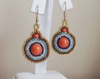 Handcrafted beaded Coral earrings - Coral Pearl earrings - pearl and seed beads - multicolored earrings - Spring Earrings