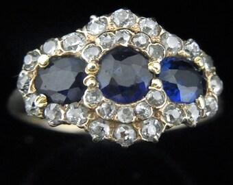 Antique Old European Mine Cut Diamonds 14k Yellow Gold Lab Sapphire Cluster Ring