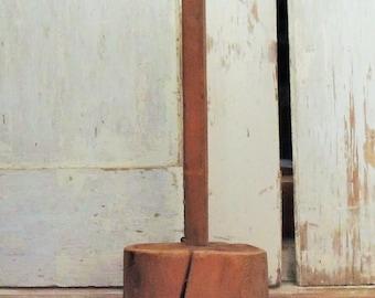 Antique Americana Masher/ Churn, Solid Wood Hand Made Farmhouse Tool, Primitive Farmhouse Food Masher