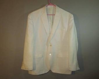 White Linen, Sport Coat, Dinner Jacket // Ralph Lauren, Macy's // Satin Lining, Mid Back Vent