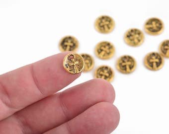 10 Gold CROSS Dot Charms, relic charms, round coin charms, 10mm, chs2968