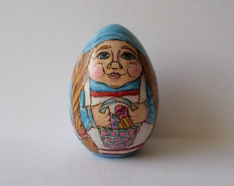 Woman Gnome Easter egg, girl gnome paperweight , wood egg, garden gnome, pyrography, wood burning