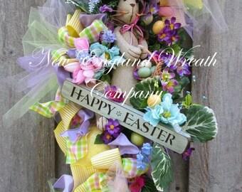 ON SALE Easter Wreath, Easter Bunny Wreath, Spring Wreath, Whimsical Easter Wreath, Victorian Easter, Designer Easter Wreath, Spring Easter