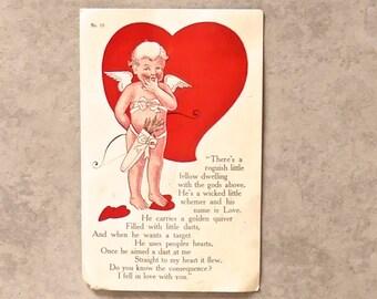 Vintage American Valentine 'Roughish Cupid' Poem