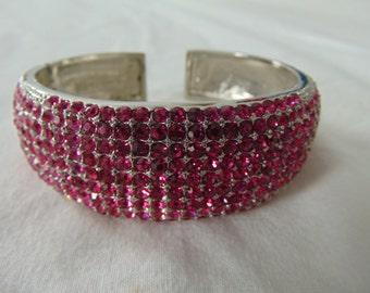 nolan miller magenta crystal cuff hinged bangle wide silver pave signed vintage