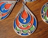 Moroccan large pear drop hand made  enamel pendant