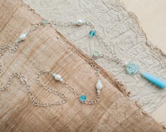 Aqua Blue Necklace, Silver, Blue Necklace, Aqua Necklace, Sea Glass Necklace, Pearl Necklace, Long Necklace, Summer Jewelry, Beach Jewelry