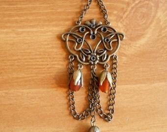 Trumpet Vine- orange agate and brass findings hair stick geisha hairstick hairpin