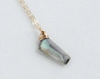 Labradorite Briolette Necklace,  Gemstone Jewelry, Geometric Nugget Necklace