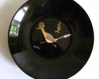 Vintage Brass, Bakelite Couroc Roadrunner Serving Bowl - Mid Century Modern, Black, Brown, Made in USA, Hostess Gift, Cactus, Retro Bar