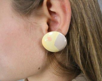 Abstract Circle Earrings / 80's Geometric Art Earrings / Round Earrings / Costume Jewelry / Fashion Earrings / Minimalist Earrings
