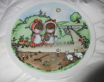 Joan Walsh Anglund  limited Edition 1975 collectible Plate girls,Girl,bunny,spring scene,garden scene,wagon,cuteness,A year is around,decor