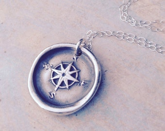 Compass rose wax seal pendant jewelry made from fine silver, custom made to order for Valentine's day