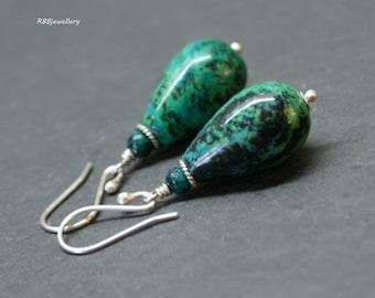 Chrysocolla Sterling Silver Dangle Earrings