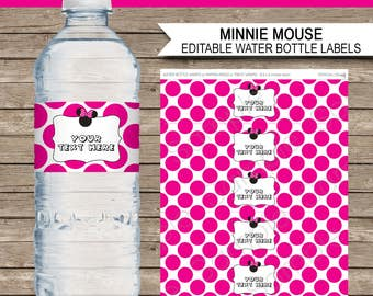 Minnie Mouse Water Bottle Labels or Wrappers - Minnie Mouse Theme Birthday Party Printables - INSTANT DOWNLOAD with EDITABLE text