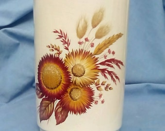 Vintage Lord Nelson Pottery Storage Jar & Wooden Lid  - decorated with Autumnal Floral Pattern - Hand-Crafted in England