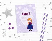 Personalized Printable Frozen Inspired Invitation - Personalized Printable Invite featuring Anna for Birthdays or Frozen Parties