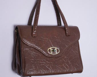 Vintage Chocolate Brown Vinyl Handbag