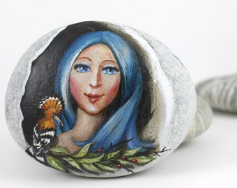 Painted stone. Ready to ship. Express Free shipping Fairy, sprite of the forest painted rock. Beach pebbles art. free shipping